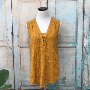 Anthropologie Maeve Embroidered Gold Lace Up Tank